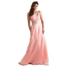 Vestido De Festa Longo Pink Formal Long Evening Dresses 2017 New Arrival One Shoulder Chiffon Robe De Soiree Abendkleider OL330