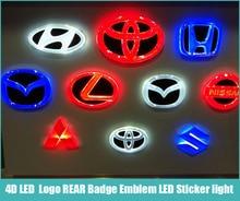 Freies verschiffen 4D WEIß ROT BLAU Led Car styling Parkplatz Logo HINTEN Abzeichen Emblem FÜHRTE Aufkleber licht lampe für Alle Autos Modell