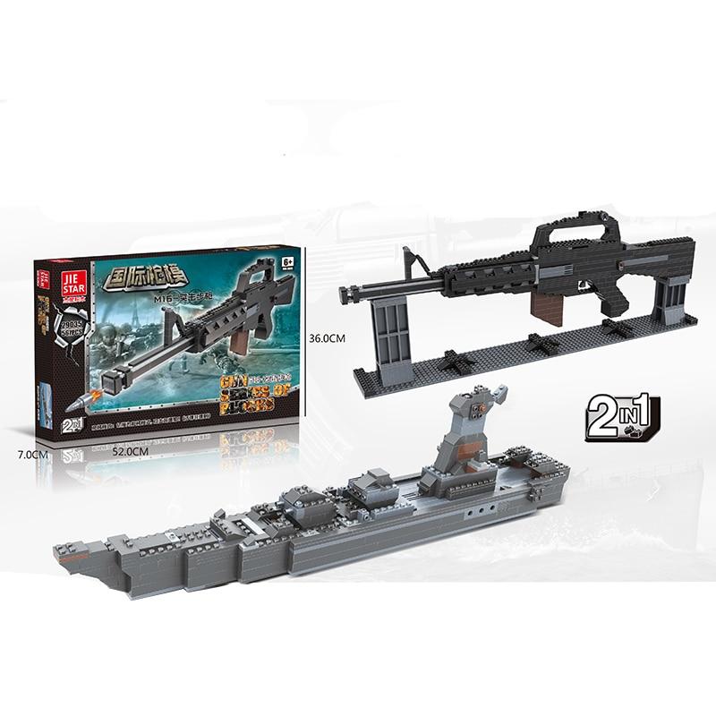 2017 military weapon Building Block mini Bricks rifle M16 Assault rifl Submachine gun Building Blocks Toys for children 567PCS bask light 55 m 5204