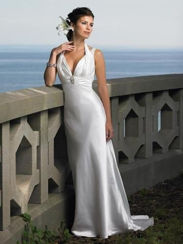 Column Straight Halter V Neck Beading Court Train Silk Like Satin Wedding Dress