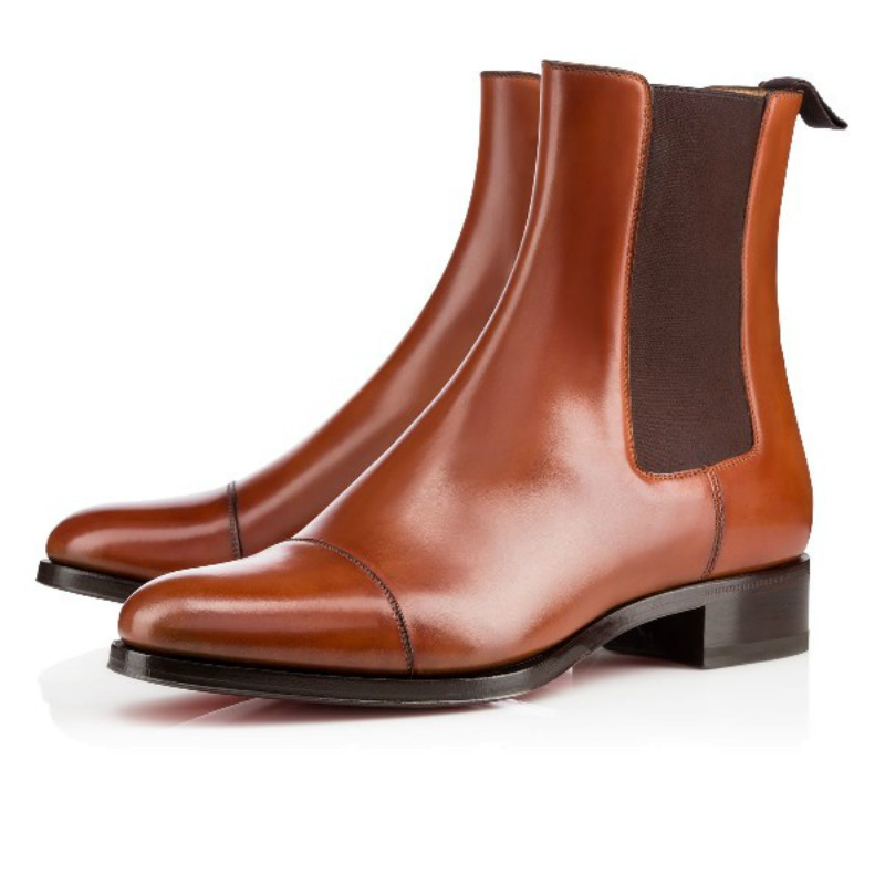 watch a99d8 665c5 Red Bottom Men Shoes ntonio booty Cognac Leather Mens Boots ...
