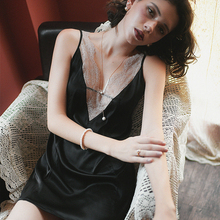 Daeyard Fashion Dress For Women Sexy Spaghetti Straps Lace Trim Deep V-Neck Nightgown Summer Nightdress Satin Sleepwear Homewear