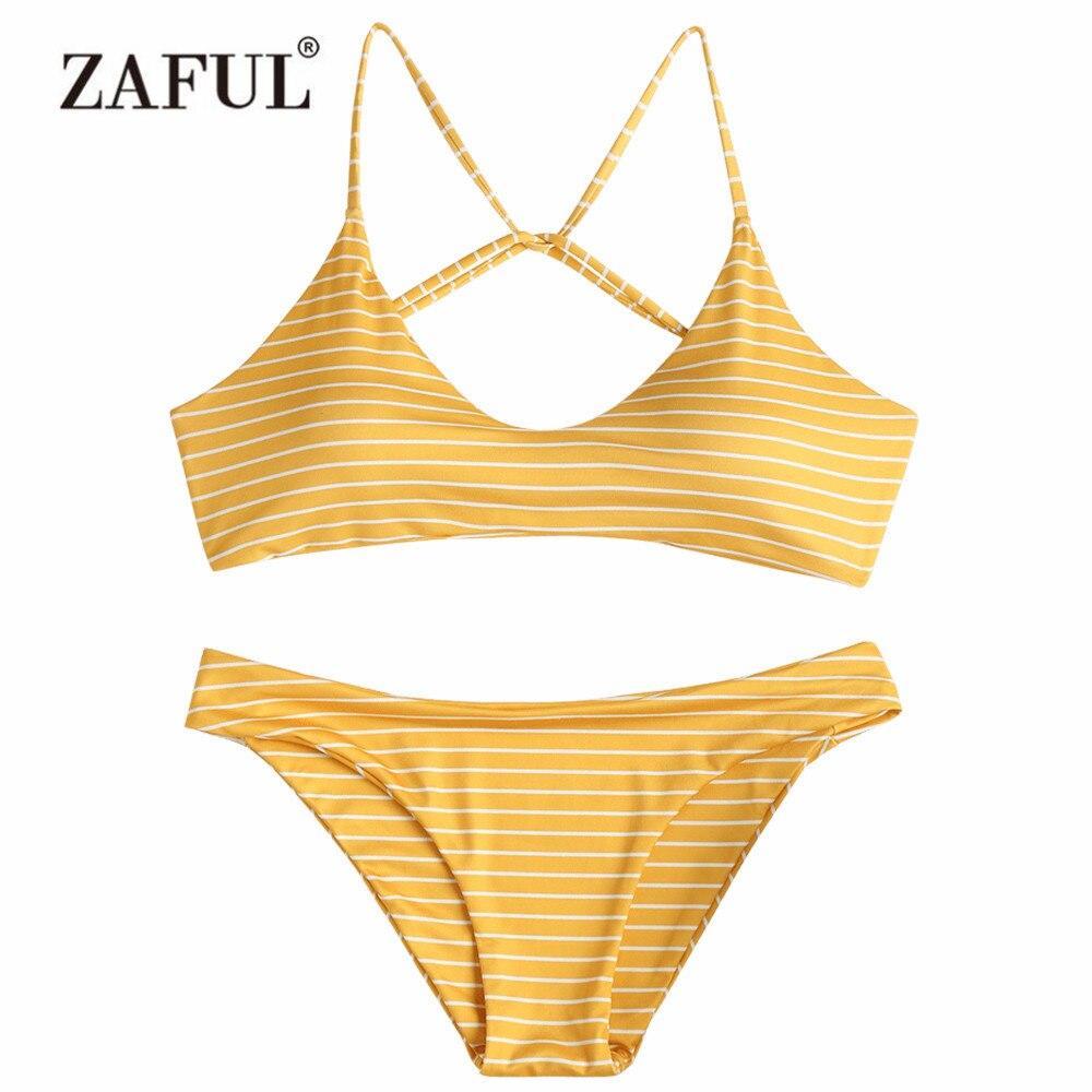ZAFUL Bikini Striped Swimwear Caged BathingSuit Bikini Set Padded Women Swimsuit Spaghetti Straps Beachwear Biquni Swimming Suit