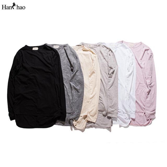 Cor sólida Curvo Hem Estendida Mens T-shirt de Manga Comprida 2017 Outono Hip Hop Tshirts Homem Homens Tee Masculino Top Básico 6 Cores S-2XL