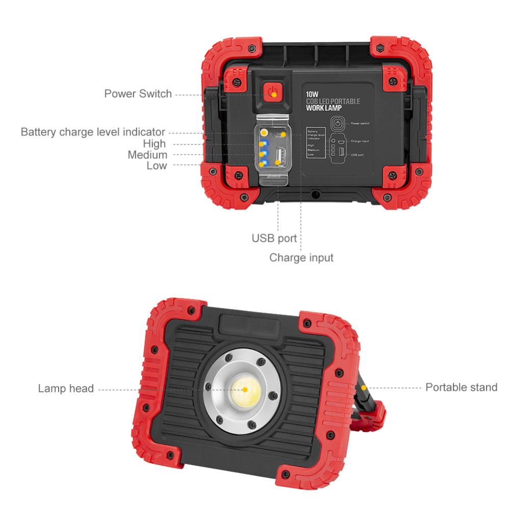 COB LED Portable Lantern Floodlight Waterproof 3-Mode Emergency Spotlight Work Lamp Power Bank With Power Display For Camping