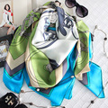 2017 Women Winter 100% Mulberry Silk Large Square Scarves  Shawls Carriage Printing 140x140cm Fashion Multifunction Scarf SZ