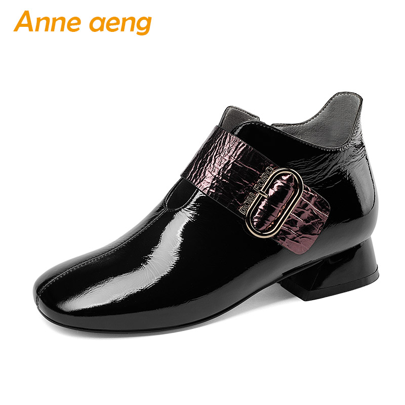 2018 New Spring/Autumn Genuine Leather Women Pumps Middle Heels Round Toe Zip Sexy Office Ladies Fashion Women Shoes Black Pumps donna in pumps women black genuine leather high heels platform round toe thick heel women shoes new fashion sexy ladies pumps