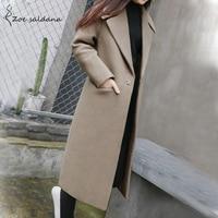 Zoe Saldana 2019 Autumn Winter Wool Blend Coat Women Long Sleeve Turn down Collar Jacket Casual Woolen Outwear Solid Overcoat