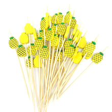 100pcs Pineapple Cactus Flamingo Disposable Bamboo Fork Party Buffet Fruit Desserts Food Cocktail Sandwich Stick Pick
