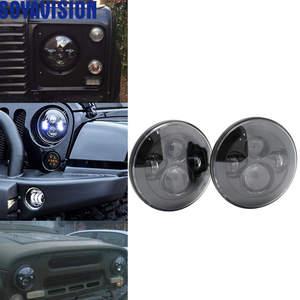Image 1 - 1ไฟรถคู่Led H4 7นิ้วรถอุปกรณ์เสริมAngel Eyes H4 Ledไฟหน้าสำหรับJeep JK TJ Land Rover defender Lada Niva 4X4นักล่าUaz