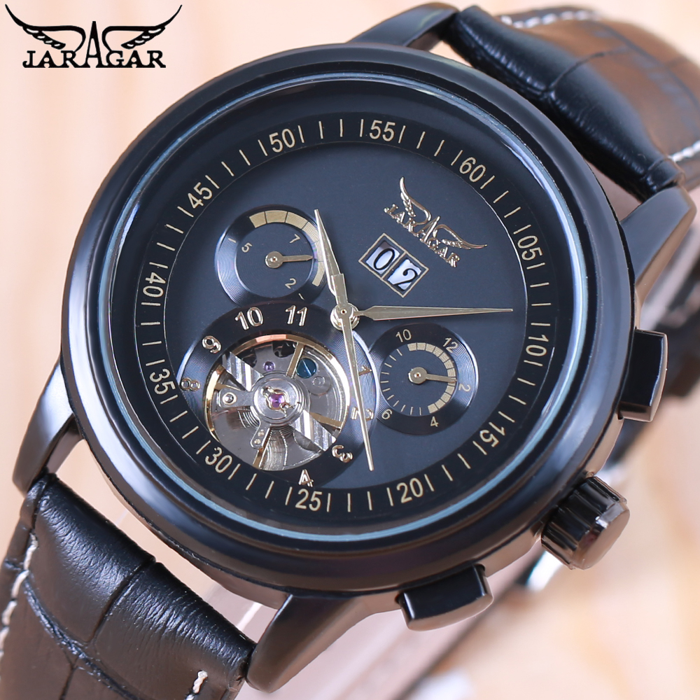 2018 JARAGAR Full Calendar Tourbillon Auto Mechanical Mens Watches Top Brand Luxury Wrist Watch erkek kol saati Montre Homme jaragar full calendar tourbillon auto mechanical mens watches top brand luxury wrist watch erkek kol saati montre homme