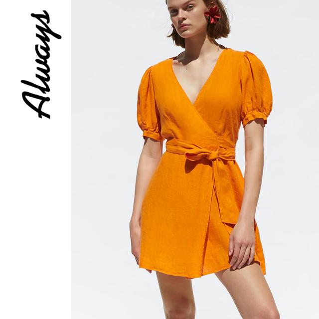 Alwayss vintage naranja puff manga de lino wrap v cuello vestido tie dye ropa de verano para mujeres nueva llegada 2019