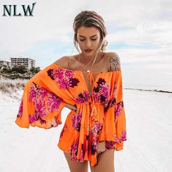 NLW Boho Off Shoulder Women Palysuit Floral Beach Summer Short Jumpsuit Romper 2019 Flare Sleeve Sexy Casual Playsuit - DISCOUNT ITEM  44% OFF All Category
