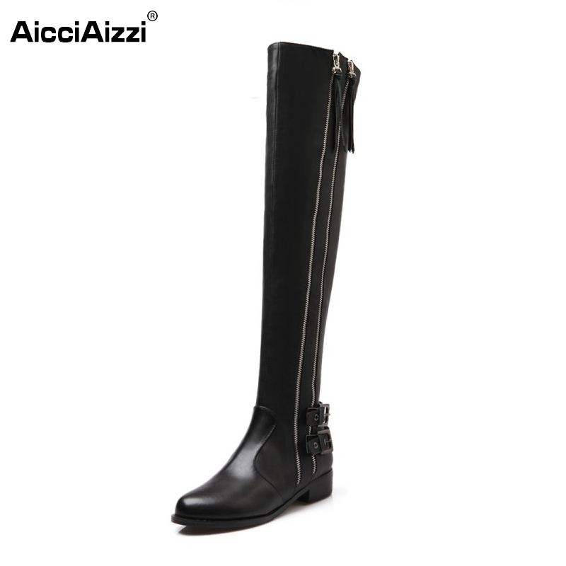 Women Genuine Real Leather Knee Boots Winter Boots Sexy High Heel Round Toe Zipper Fashion Buckle Women Boots Shoes Size 34-39 sgesvier women boots snow boots 2017 winter platform heel casual knee high round toe buckle flat size 34 43 lady shoes ox098