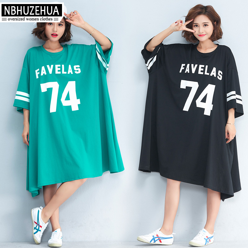 240d2518d39 US $47.2 |NBHUZEHUA 7G556 Women's Big Size T Shirt Dress Half Sleeve Plus  Size Dresses Letter Print Casual Dress 4XL 5XL 6XL 7XL -in Dresses from ...