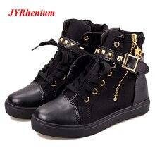 JYRhenium/Новинка 2018 года, зимние женские Ботинки martin, большие размеры 35-40, женские ботильоны с пряжкой в стиле ретро, леопардовые черные ботинки на плоской подошве, белые