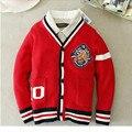 Novo estilo preppy vestuário infantil primavera outono inverno longo-luva sweater cardigan meninos de algodão Com Decote Em V sólidos crianças Blusas