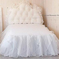 Free shipping white Korean lace with bed surface luxury solid color bed skirt 45cm height bed apron twin full queen size