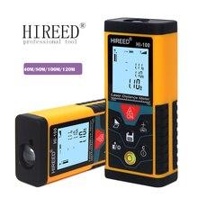HIREED 40M 120M 100M 디지털 거리 측정기 trena 레이저 테이프 범위 측정기 빌드 장치 눈금자 레이저 거리 측정기