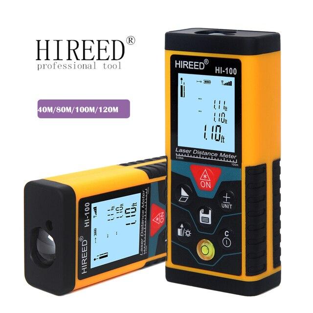 HIREED telémetro Digital trena 40M, 120M, 100M, dispositivo de medida de construcción, medidor de distancia láser de prueba