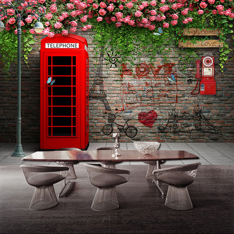 Custom Photo Wallpaper Modern London Telephone Booth Rose 3D Wall Murals Cafe Restaurant Living Room Backdrop Wall Papers Decor in Wallpapers from Home Improvement