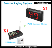 Wireless Queue Calling Waiter System Including 1PCS P 999 Keypad And 1 Receiver Showing Customer Service Number