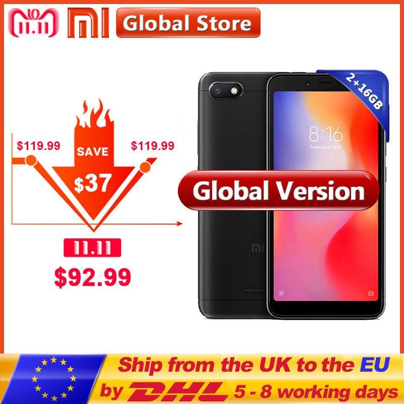 Global Versão Xiaomi Redmi 6A 6 UM 2 gb 16 gb A22 telefone Celular telefone Móvel 13.0 MP + 5.0 MP 3000 mah 5.45 polegada 1440*720