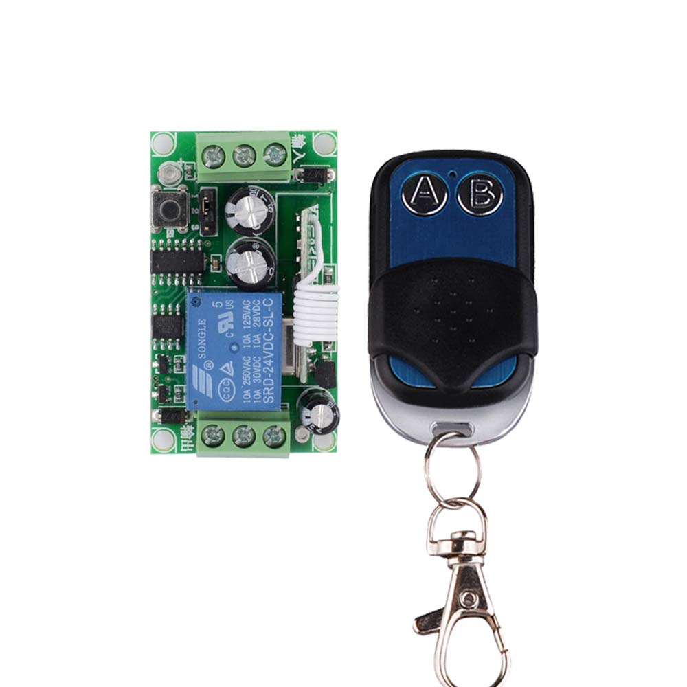 DC 24V 10A Relay Remote Control Switch Power Remote ON OFF RF Wireless Switch ASK Learning Code Receiver 315/433 Smart Home