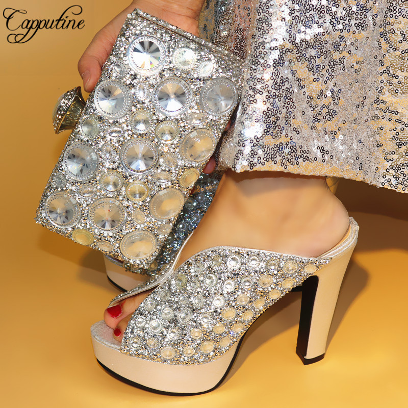 Capputine African Elegant Pumps Silver Shoes And Bag Set Italian Style Woman High Heels Shoes With Matching Bags Set Size 38-42 capputine hot selling african woman shoes and bags set italian style high heels shoes and bag sets for dress size 37 42 bl765c