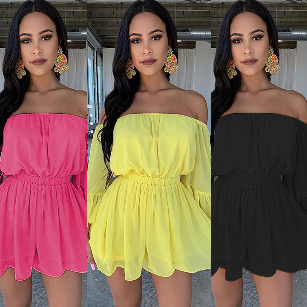 Vintage Mini Shorts Playsuit 2019 Summer Autumn Ladies Off Shoulder Yellow Ruffles Sleeve <font><b>Jumpsuits</b></font> <font><b>Kawaii</b></font> Sheer Beach Bodysuit image
