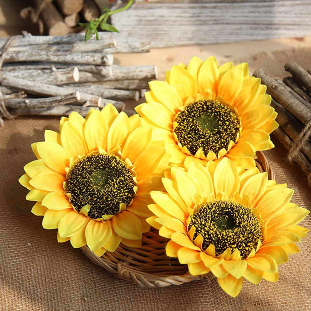 Yellow  Fake Flores Artificial Flower Silk Sunflower Heads Wedding Decoration
