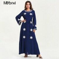 New Large Size Muslim Dress Navy Blue Casual Abaya Arab Spring Summer Dubai Kaftan Muslim Robe Women Long Maxi Dresses 2019