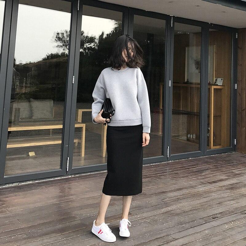 Mode slim chemise avec jupe deux pièces femme 2018 nouveau automne femmes costume tempérament élégant solide couleur lâche sauvage vêtements