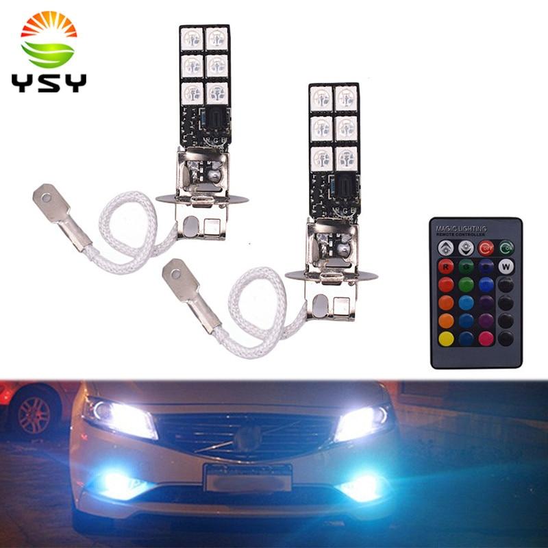 2pcs Car Style H3 5050 Smd 12 Led Multi Color Rgb Car