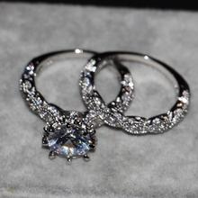 Victoria Wieck Luxury Jewelry Diamonique 925 Sterling Silver Wedding AAA CZ stones Women Bridal Women Ring set With Box Gift