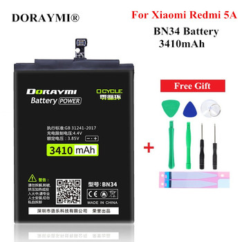 DORAYMI BN34 Battery for Xiaomi Redmi 5A BN 34 Mobile Phone Replacement Bateria Li-ion Polymer Cell Batteries Free Tools