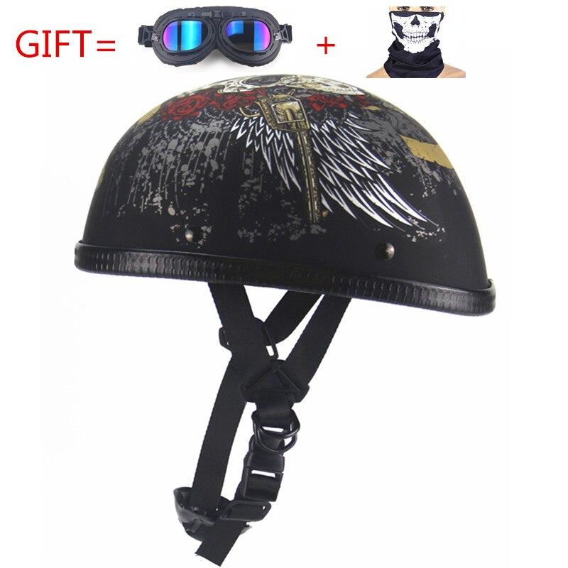 Freies Verschiffen vintage Motorrad Motorrad Vespa-geöffneter Gesichts Halbe Motor roller Helme mit brille visier