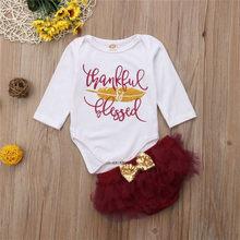 6130ba6aa Newborn Infant Baby Clothing Girl Kids Thanksgiving Romper Fancy Mesh Tutu  Dress Outfits Children 2pcs Autumn Vestidos Clothes