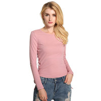 Ebizza Lace Up Causal Pullover Women Two Side Bandage Long Sleeve Bodycon T Shirts Autumn Winter