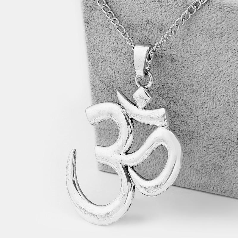 1pcs Large Tibetan Sliver OM/OHM/AUM Symbol Yoga Charms Pendants Necklace