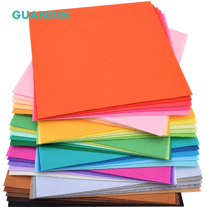 GuanDin,40pcs in 1 pack/Mix Solid Color/Polyester Nonwoven <font><b>Felt</b></font> Fabric/Thickness <font><b>1mm</b></font>/for DIY Sewing Toys,Crafts Dolls/20cmx20cm image