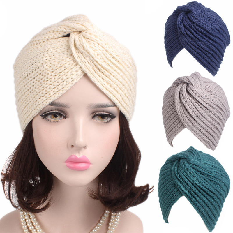 Muslim Winter Hat Warm Knit Caps Beanie Women Bonnet Sleep Chemo Turban   Headwear   Cancer Patients Classic Knotted Cross India Cap