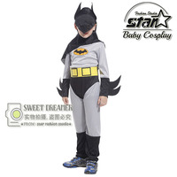 New Arrival Kids Deluxe Muscle Dark Knight Batman Child Halloween Party Fancy Suit Set Boys Superhero