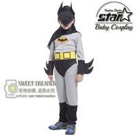 New Arrival Kids Deluxe Muscle Dark Knight Batman Child Halloween Party Fancy Suit Set Boys Superhero