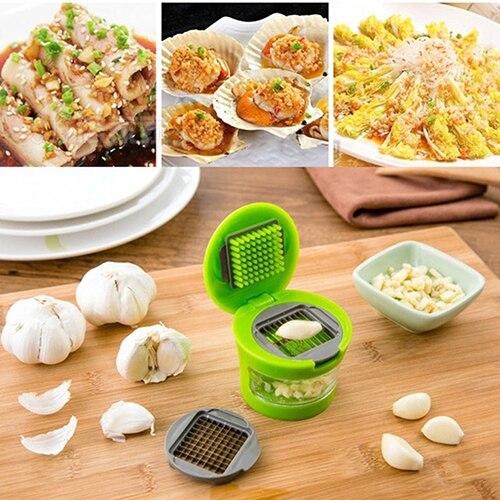 Kitchen 2 Blades Garlic Press Chopper Slicer Grinder Crusher Hand Presser Tool