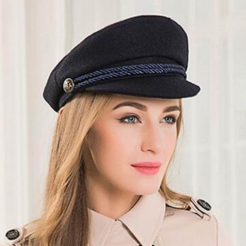01643df43 US $22.99 30% OFF|2018 New Fashion Sailor Ship Boat Captain Military Hats  Peaked Cap Black Baseball Caps Flat Hat for Women Bere Wool Hats E3579-in  ...