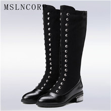 Plus Size 34-48 New Fashion women Mid Heels knee high boots ladies Metal rivets boots punk martin Zipper Knight boots 2018 shoes new fashion punk tassel rivets rhinestones evening party shoes women crystal high heels14cm color customized unique