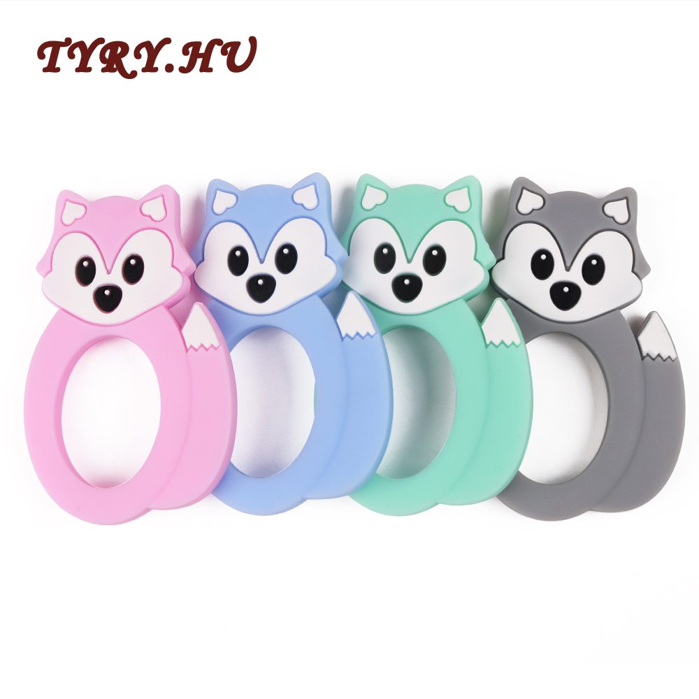 TYRY.HU 1Pc Cute Fox Teether Food Grade Silicone Beads Material Baby Toy for DIY Baby Teething Necklace BPA Free Molar Pendant tyry hu 1pc christmas tree shaped baby girl silicone teether rodents beads teething transducer pendant necklace food silicone