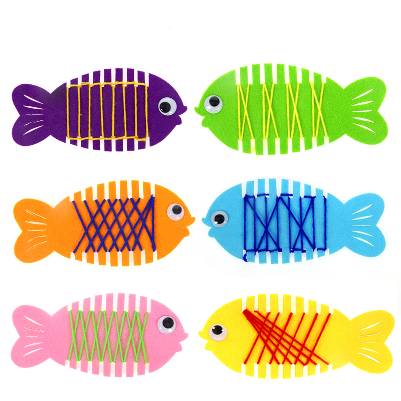 No Free Shipping/ Kindergarten Activity DIY Material Children Wear Thread Hand-made Game Coiling Fish Creative Material BS78