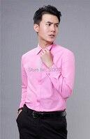 Hot New Rosa/Hot Pink Rhinestone Longo-manga comprida Camisa Dos Homens Casamento/Prom Noivo Camisas do Desgaste do Noivo Homem Camisa do partido (39-44)